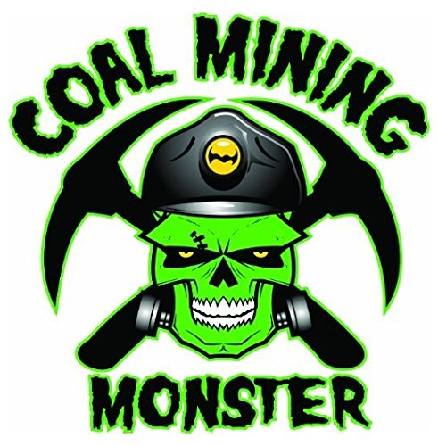 "Monsters Inc Hard Hat (Large 5'' Sticker - Coal Mining Monster Hard Hat Stickers Designed by Earl Ferguson ""Sons of Coal"" - Construction Toolbox, Hardhat, Lunchbox, Helmet, Mechanic & More)"