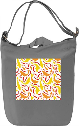 Fish Print Borsa Giornaliera Canvas Canvas Day Bag| 100% Premium Cotton Canvas| DTG Printing|