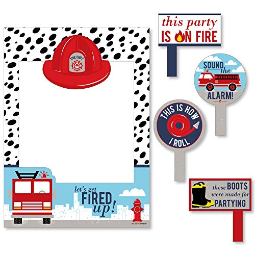 (Big Dot of Happiness Fired Up Fire Truck - Firefighter Firetruck Baby Shower or Birthday Party Selfie Photo Booth Picture Frame and Props - Printed on Sturdy Material)