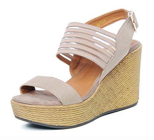 Easemax Womens Trendy Wedges Buckle Peep Toe Low Top Platform Chunky High Heel Sandals Gray lnvgpi