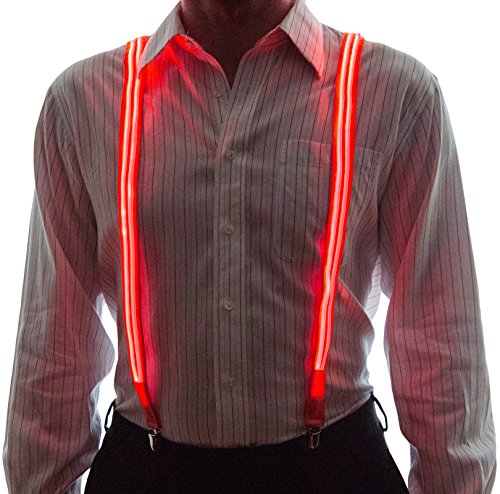 Neon Nightlife Men's Light Up LED Suspenders, Stripe, Extra Bright, One Size, (Tron Costume Light Up)