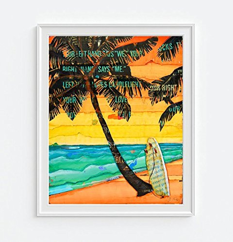Sunday Palm Set (Palm Sunday - Danny Phillips art print, UNFRAMED, Vintage Palm Trees Ocean Coastal surf surfboard beach nautical sunset coastal wall art, mixed media collage, 8x10 inches)