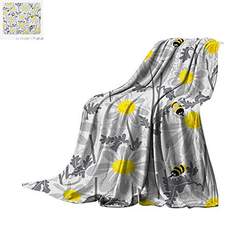 """Grey Digital Printing Blanket Daisy Flowers with Bees in Spring Time Honey Petals Floret Nature Purity Blooming Oversized Travel Throw Cover Blanket 60""""x36"""" Yellow White"""