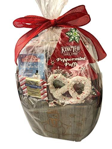 ft Basket Box Chocolate Pretzels, Puffs, Bark, Peanut Butter Cup & Cookies (Snowman) ()