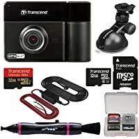 Transcend DrivePro 520 1080p HD GPS Wi-Fi Car Dashboard Video Recorder with Suction Cup with (2) 32GB Cards + Hardwire Power Cable Kit