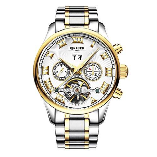 MonkeyJack KINYUED Men Luxury Automatic Mechanical Calendar Chronograph Steel Wristwatch Silver Gold Tone - White (White Calendar Automatic Watch)