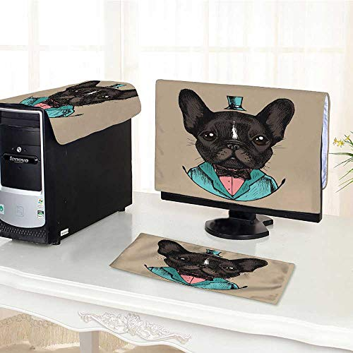UHOO2018 Keyboard dust Cover Computer 3 Pieces French Bulldog in a Tuxedo Drawn Vector Hipster Style Computer dust Cover /30