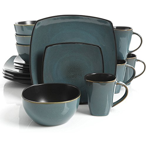 Gibson Home Soho Lounge 16 Piece Dinnerware Set, Teal