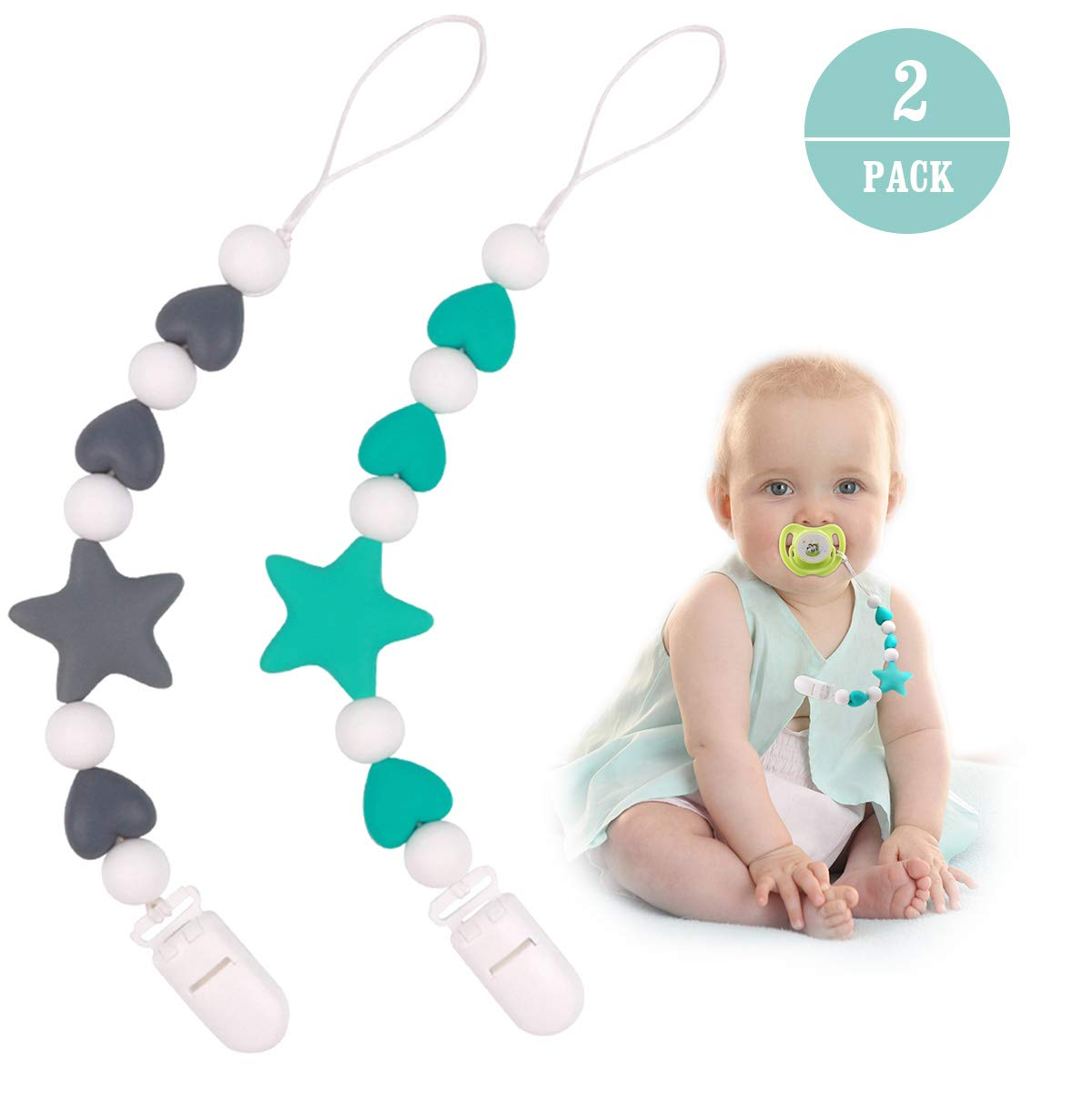 Pacifier Clip Girl, Silicone Baby Teething Relief Toys Beads for Girls, MCGMITT Soothie Pacifier Holder & Binky Clips, Best Baby Shower Gifts 2 Pack RR047-A+B
