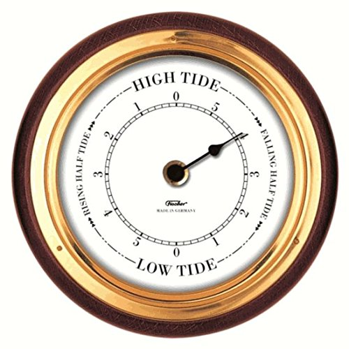 Fischer Instruments 1434TD-22 6 1/2'' Mahogany Wood and Brass Tide Clock by Fischer Instruments