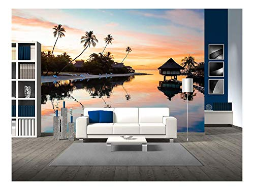 (wall26 - Tropical Sunset at Moorea, French Polynesia - Removable Wall Mural | Self-Adhesive Large Wallpaper - 66x96 inches)