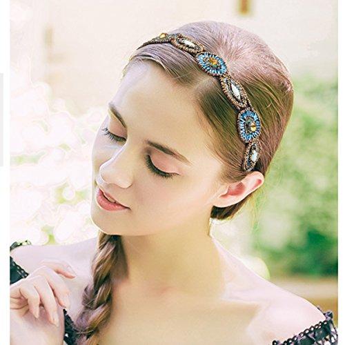 Fashionable Handmade Crystal Cubaco 5 Pack Rhinestone Beaded Elastic Headband