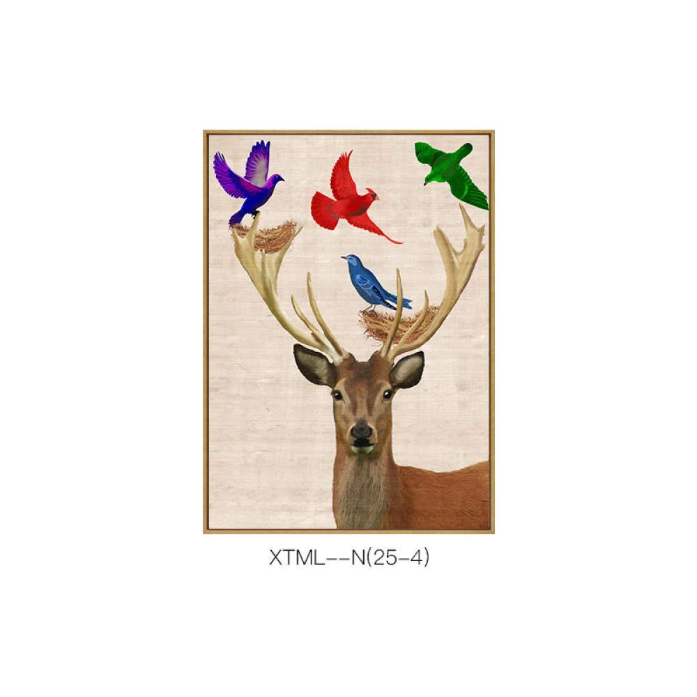 CWJ Pintura Decorativa Moderna Fresca y Pastoral, Modelo Animal Creativo y Sala de Estar Exquisita Pintura Sola Colgante, Pintura de inyección de Tinta,C,50  70