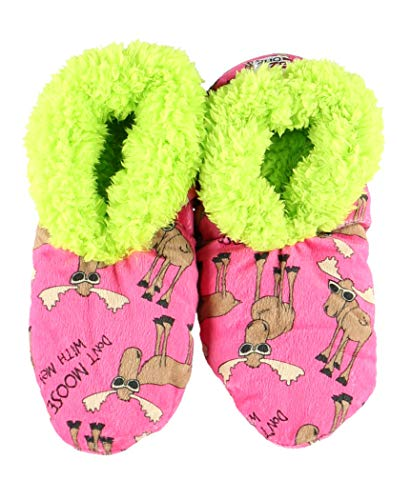Dont Moose with Me Womens Plush Fuzzy Feet Slippers by LazyOne | Ladies Soft Fuzzy House Slippers (L/XL)
