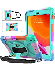 BMOUO iPad 8th Generation Case,iPad 7th Generation Case,iPad 10.2 Case,Three Layer Hybrid Shockproof [360 Rotating Stand] [Hand Strap] [Pencil Holder] Kids Case for New iPad 10.2 Inch 2020/2019-Turquoise