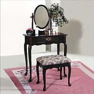 Oak Queen Anne Vanity Set with Table & Makeup Bench New