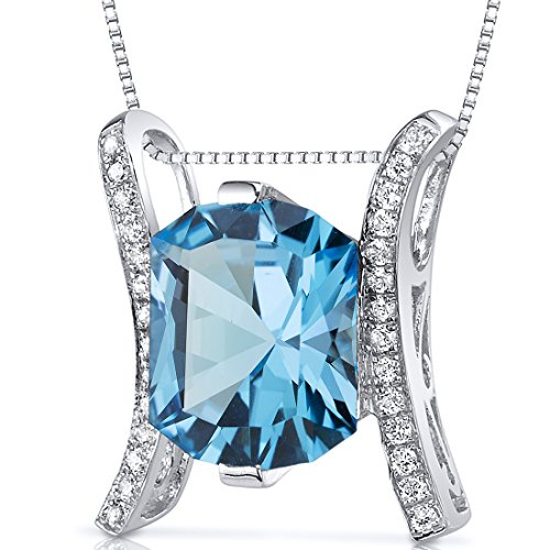 Prince Cut 4.00 carats Sterling Silver Rhodium Finish Swiss Blue Topaz Slider Pendant