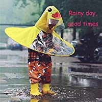 Pangxiannv Cute Yellow Duck Rain Coat UFO Children Umbrella Hat Magical Hands Free Raincoat Womens Rain Suit Mens Waterproof Rain Jacket Rain Gear Rain Jacket Women