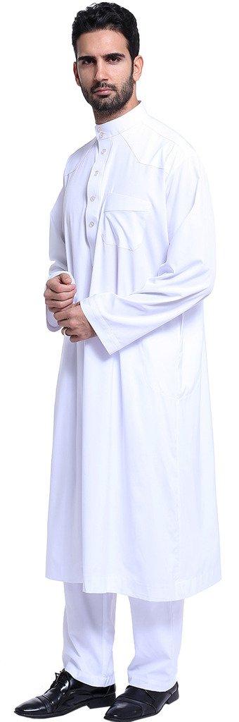 Ababalaya Men's Long Sleeve Mock Neck Solid Salwar Suits Dubai Robe Sets, White, L