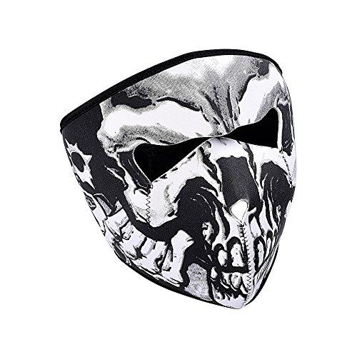 Motorcycle Biker Black Neoprene 2 in 1 Back Reversible Skull Assassin Full Face Mask