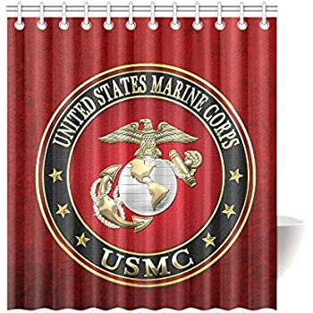 New Year Gifts Thanksgiving Day USMC United States Marine Corps Waterproof Bathroom Decor Fabric Shower Curtain Polyester 66 X 72 Inches