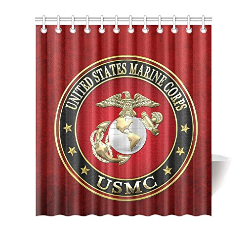 New Year Gifts/Thanksgiving Day USMC United States Marine Corps Waterproof Bathroom decor Fabric Shower Curtain Polyester 66 x 72 inches
