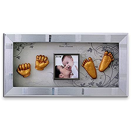 Gold MomsPresent Baby Hands and Feet Casting Print Deluxe KIT with Silver Frame