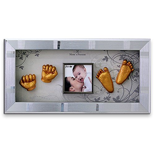 Momspresent Baby Hands und Foot Casting 3D Print Diy Kit mit Silver Frame6 (Gold)