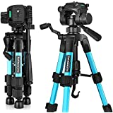 Mini Tripod, zakitane Tabletop Desktop Phone Tripod 22-inches with Pan Head Panoramic Quick Release Plate & Carrying Bag for DSLR Camera (Load: 11 lbs, Weight:1.41 lbs) zt22 Blue