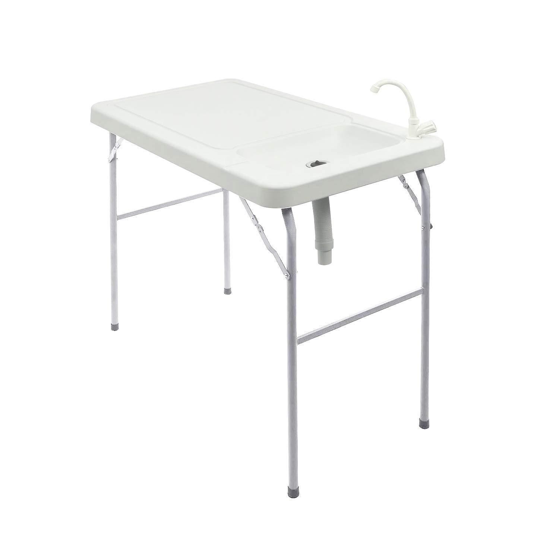 Modern-depo ポータブル折りたたみ式フィッシュテーブル シンク付き HDPEパウダーコーティング キャンプ ピクニック 庭用   B07MQSGM8K