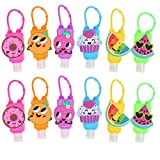 SUSHAFEN 10Pcs Cute Fruit Silicone Hand Refillable Bottles Mini 30ml Detachable Kids Travel Portable Plastic Leak Proof Liquid Soap Bottles Keychain Carriers-Random Patterns/Without Liquid