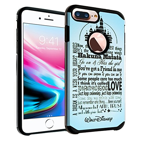 iPhone 7 Plus Disney Quotes Case, DURARMOR Love Dream Disney Quotes Case Hybrid Bumper ShockProof Slim Fit Armor Air Cushion Defender Drop Protection Cover for iPhone 7 Plus Disney Quotes