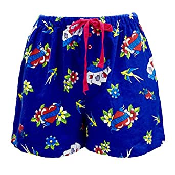 Leisureland Women's Cotton Flannel Pajama Sleepwear Lounge Boxer Shorts Tattoo Love Heart Print BlueSmall