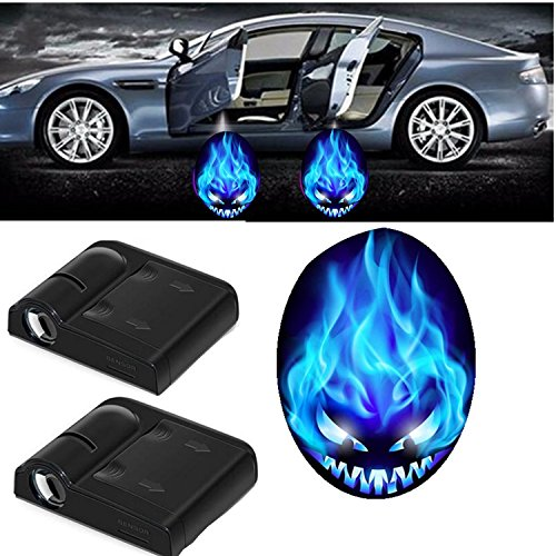 OK-STORE 3D Halloween Pumpkin Car LED Shadow Laser Light, Fits Ford Focus F150 Mondeo Transit Mustang, BMW 3/5/6/7/Z/GT/X, Audi A3 A4 A5 A6 A7 A8 Q3 Q5 Q7 R8 RS ()