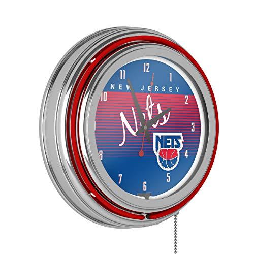 NBA New Jersey Nets Chrome Neon Clock, One Size, Chrome - New Jersey Nets Neon Clock