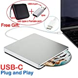 PC Hardware : USB-C Superdrive External Slot-in DVD/CD Rewriter USB External DVD/CD Drive Burner for latest Mac Pro/MacBook Pro/ASUS U306UA/ASUS/DELL Latitude with USB-C Port (Silver)