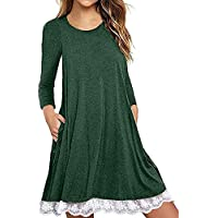 Casual Womens Tops Plus Size Blouses for Women Fashion 2018 Long Sleeve T Shirt Dresses with Pockets Lace Swing Tunic Dress