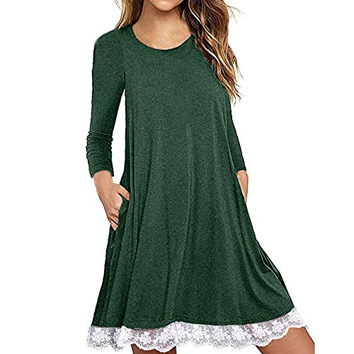 - kaifongfu T Shirt Dress with Pockets Women Long Sleeve Cotton Dress(Green,M)