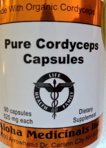 Pure Cordyceps Capsules 525 Mg , 90 Capsules , 12 Bottles by Aloha Medicinals