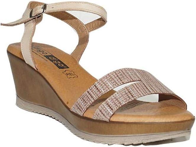 DIGO-DIGO Sandalia Rosario con CUÑA 2617 Sandalias Cuña Mujer Piel Plantillas de Gel Confort Beige: Amazon.es: Zapatos y complementos