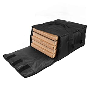 "YOPRAL Pizza Bag,Large Thermal Pizza Delivery Bags Insulated Food Delivery Bag Professional Moisture Free Pies Pizza Warmer Carrier Bags Hold Up 5-16"" or 4-18"" (Black, 20""X20""X11"")"