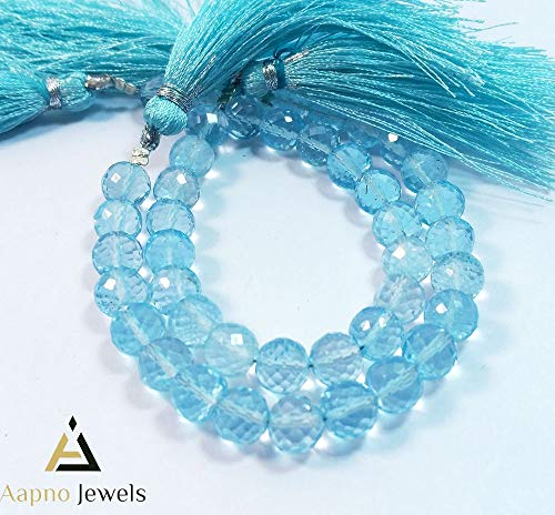 1 Strand Natural Blue Topaz Loose Beads Strand, 6-7mm 5 Inch Faceted Round Ball Blue Topaz Beads, Blue Topaz Beads Necklace, Jewelry Making Blue Topaz Beads, Knotted Blue Topaz Necklace