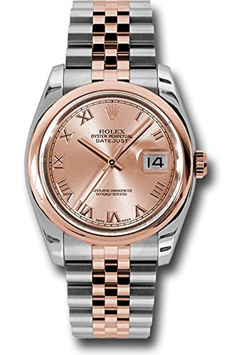 Rolex Datejust Champagne (Rolex Oyster Perpetual Datejust 36mm Stainless Steel Case, 18K Pink Gold Domed Bezel, Champagne Dial, Roman Numeral, And Stainless Steel and 18K Pink Gold Jubilee Bracelet. )