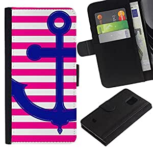 KLONGSHOP / Tirón de la caja Cartera de cuero con ranuras para tarjetas - Pink Anchor Love Stripes Lines White - Samsung Galaxy S5 Mini, SM-G800, NOT S5 REGULAR!