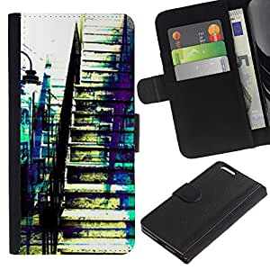 A-type (City Boston Teal Blue Street Architecture) Colorida Impresión Funda Cuero Monedero Caja Bolsa Cubierta Caja Piel Card Slots Para Apple (5.5 inches!!!) iPhone 6+ Plus / 6S+ Plus