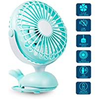 Clip Fan Portable Mini USB - Battery Operated Fan Silent Desk Fan, 360 Rotation, Rechargeable Battery Powered Fan, Small Cooling Quiet for Stroller, Bedroom, Office, Woman, Kids, Travel