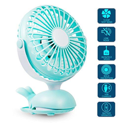 Clip Fan Portable Mini USB - Battery Operated Fan Silent Desk Fan, 360 Rotation, Rechargeable Battery Powered Fan, Small Cooling Quiet for Stroller, Bedroom, Office, Woman, Kids, (Kids Desk Net)