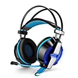 KOTION EACH G7000 7.1 USB Surround Sound Gaming Headphones Microphone Stereo Headset Enhanced Bass LED Light for Computer PC Adjustable Vibration Mode (Blue in Black)