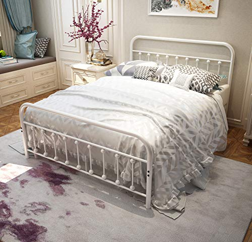 TEMMER White Metal Bed Frame Queen Size with Headboard and Footboard Single Platform Mattress Base