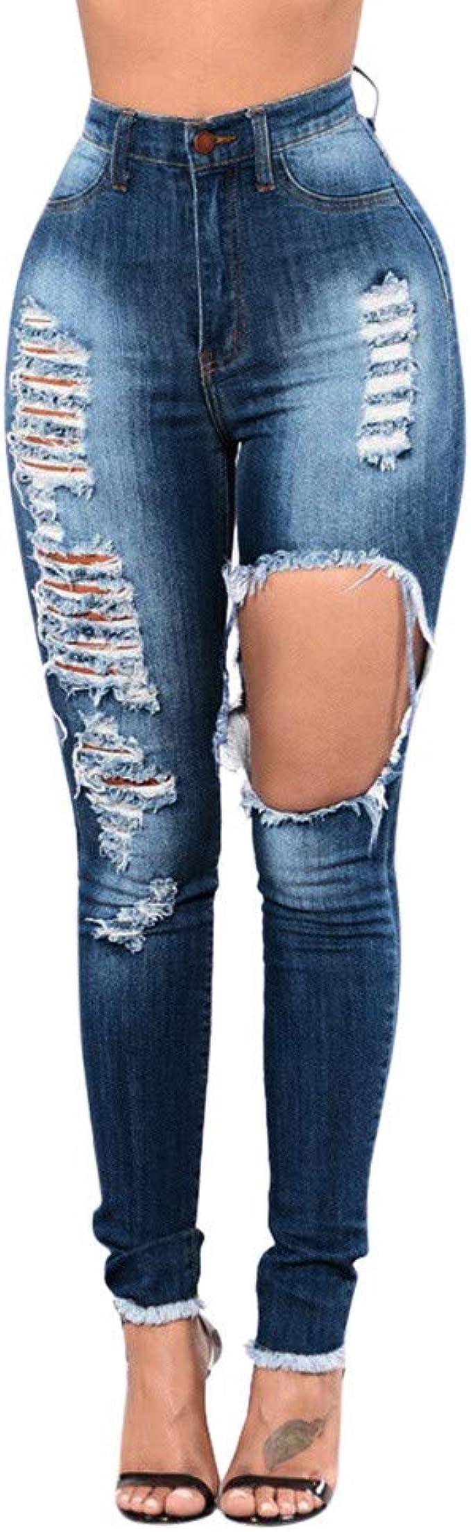 Familizo Vaqueros Rotos Mujer Vaqueros Mujer Tallas Grandes Vaqueros Altos Ajustados Pantalones Lapiz Tejanos Otono Mujer Anchos Casual Elastico Slim Fit Talle Alto Leggings Vaqueros Ropa